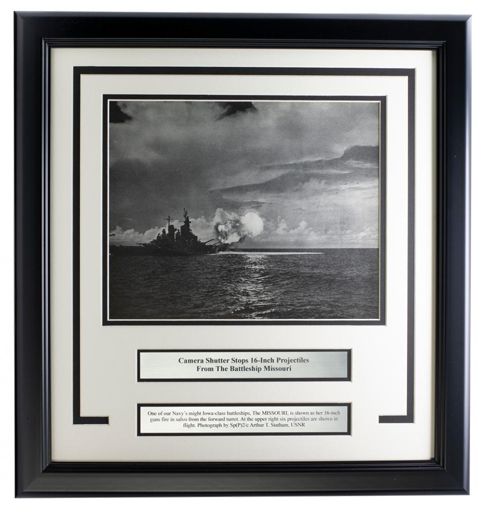 "Battleship Missouri ""16"" Projectiles"" 17x18 Custom Framed Photo Display at PristineAuction.com"