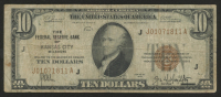 1929 $10 Ten-Dollar Brown Seal U.S. National Currency Bank Note - The Federal Reserve Bank of Kansas City, Missouri at PristineAuction.com