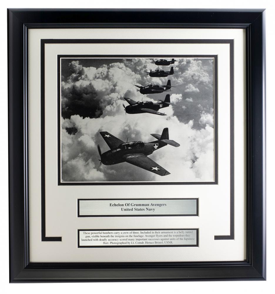 U.S. Navy Echelon of Grumman Avengers 17x18 Custom Framed Photo Display at PristineAuction.com