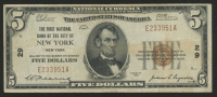 1929 $5 Five Dollars U.S. National Currency Note With Brown Seal - Lincoln National Bank and Trust Company of New York, New York at PristineAuction.com