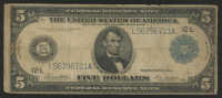 1914 $5 Five Dollars U.S. Blue Seal Federal Reserve Large Size Bank Note at PristineAuction.com