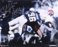 "Shawne Merriman Signed Chargers 16x20 Photo Inscribed ""Lights Out"" (UDA COA) at PristineAuction.com"