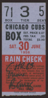 "Ernie Banks Signed 1956 Cubs vs. Braves Ticket Stub Inscribed ""HR 83"" (JSA COA) at PristineAuction.com"