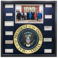 """United States Presidents & First Ladies"" 27x27 Custom Framed Cut Display Signed by (11) with Ronald Reagan, Richard M. Nixon, Gerald R. Ford, Jimmy Carter, George H.W. Bush (Beckett LOA) at PristineAuction.com"
