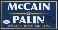 "Sarah Palin Signed McCain & Palin 4x7 Bumper Sticker Inscribed ""'08"" (JSA COA) at PristineAuction.com"