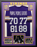 """""""Purple People Eaters"""" 34.5x42.5 Custom Framed Jersey Signed by (4) with Carl Eller, Gary Larsen, Jim Marshall & Alan Page (JSA COA) at PristineAuction.com"""