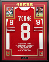 Steve Young Signed 34.5x42.5 Custom Framed Career Highlight Stat Jersey (JSA COA) at PristineAuction.com