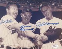 Joe DiMaggio, Bob Feller & Allie Reynolds Signed 8x10 Photo (JSA LOA) at PristineAuction.com