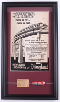 """Walt Disney's """"Monorail System"""" 15.5x26.5 Custom Framed Print Display with 1960's E Monorail Ticket & Vintage Resin Souvenir Monorail at PristineAuction.com"""