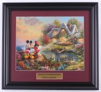 "Thomas Kinkade Walt Disney's ""Mickey & Minnie Mouse"" 15x16.5 Custom Framed Print Display at PristineAuction.com"