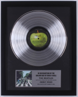 """The Beatles 15.75x19.75 Custom Framed Silver Plated """"Abbey Road"""" Record Album Award Display at PristineAuction.com"""