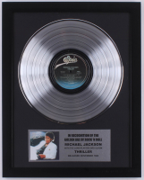 """Michael Jackson 15.75x19.75 Custom Framed Silver Plated """"Thriller"""" Record Album Award Display at PristineAuction.com"""