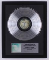 "John Lennon 15.75x19.75 Custom Framed Silver Plated ""Imagine"" Record Album Award Display at PristineAuction.com"