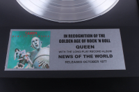 """Queen 15.75x19.75 Custom Framed Silver Plated """"News of the World"""" Record Album Award Display at PristineAuction.com"""