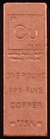 """1 Pound .999 Fine Copper """"Periodic Table"""" Bullion Bar at PristineAuction.com"""