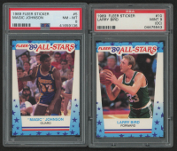 Lot of (2) PSA Graded 1989-90 Fleer Stickers Basketball Cards with #5 Magic Johnson (PSA 8) & #10 Larry Bird (PSA 9) (Off Center) at PristineAuction.com