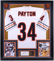Walter Payton Signed 32x36 Custom Framed Cut Display with Super Bowl Pin (PSA) at PristineAuction.com