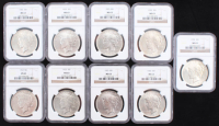 Lot of (9) Peace Silver Dollars (NGC MS63) at PristineAuction.com