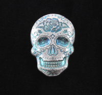 2 oz Silver Day of the Dead Sugar Skull Monarch Hand-Poured 3D .999 Fine Silver Bar - Rose at PristineAuction.com