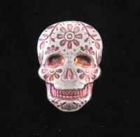 2 oz Silver Day of the Dead Sugar Skull Monarch Hand-Poured 3D .999 Fine Silver Bar - Marigold at PristineAuction.com