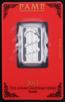 10 Gram - 2013 Lunar Year of the Snake PAMP Suisse Silver Bar with Assayer at PristineAuction.com