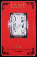 10 Gram - 2016 Lunar Year of the Monkey PAMP Suisse Silver Bar with Assayer at PristineAuction.com