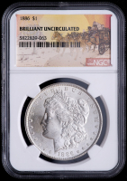 1886 Morgan Silver Dollar - Stage Coach Label (NGC Brilliant Uncirculated) at PristineAuction.com