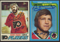 """Lot of (2) Signed Hockey Cards with 1977-78 Topps #65 Bernie Parent & 1979-80 Topps #185 Bobby Hull Inscribed """"HOF 1983"""" & """"HOF 84"""" (JSA COA) at PristineAuction.com"""