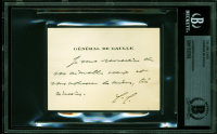 Charles De Gaulle Signed 2.75x3.75 Calling Card with Inscription (BAS Encapsulated) at PristineAuction.com