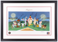 500 Home Run Club Warner Bros. LE 26x36 Custom Framed Lithograph Display Signed by (10) with Willie Mays, Ted Williams, Reggie Jackson, Hank Aaron, Ernie Banks (JSA LOA) at PristineAuction.com