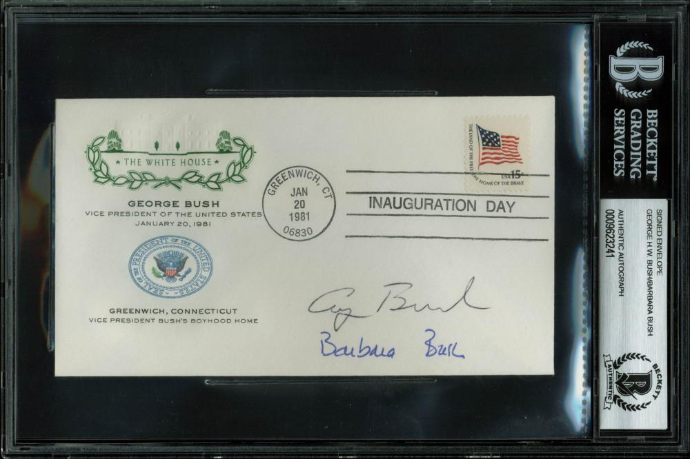 George H.W. Bush & Barbara Bush Signed 1981 Presidential Inauguration FDC Envelope (BAS Encapsulated) at PristineAuction.com
