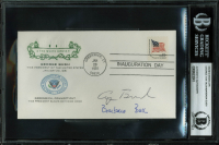 George H.W. Bush & Barbara Bush Signed 1981 Presidential Inauguration FDC Envelope (BAS Encapsulated) at PristineAuction.com