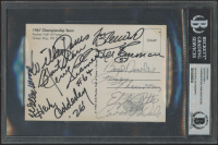1967 Packers Super Bowl I Postcard Team-Signed by (11) with Bart Starr, Willie Wood, Willie Davis, Jerry Kramer, Herb Adderley, Fuzzy Thurston (BGS Encapsulated) at PristineAuction.com