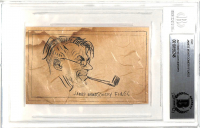 James Montgomery Flagg Signed 2.75x4.35 Cut with Hand-Drawn Sketch (BAS Encapsulated) at PristineAuction.com