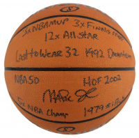 Magic Johnson Signed NBA Official Game Ball Basketball with (9) Career Stat Insciptions (Beckett LOA) at PristineAuction.com