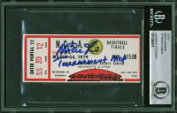 "Magic Johnson Signed 1979 NCAA Basketball Finals Ticket Stub Inscribed ""Tourament MOP"" (BAS Encapsulated) at PristineAuction.com"