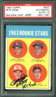 "Pete Rose Signed 1963 Topps #537 Rookie Stars RC Inscribed ""63 ROY Hit King"" (PSA Encapsulated) at PristineAuction.com"