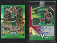 Lot of (2) Larry Bird Basketball Cards with 2019-20 Panini Prizm #16 & 2018-19 Panini Chronicles Vanguard V-Team Signature Swatches Red #36 at PristineAuction.com