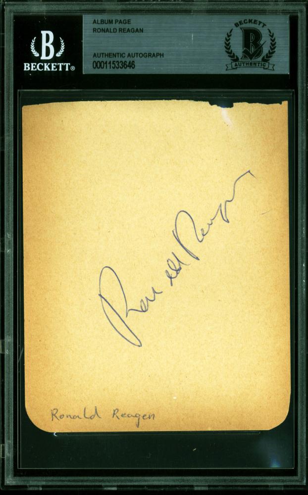 Ronald Reagan Signed 4x4.75 Album Page (BAS Encapsulated) at PristineAuction.com