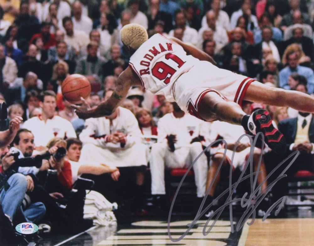 Dennis Rodman Signed Bulls 11x14 Photo (PSA Hologram) at PristineAuction.com