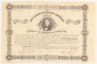 1862 Confederate States of America $1000 One Thousand Dollar Bank Loan Note at PristineAuction.com