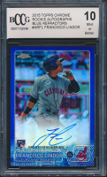 Francisco Lindor 2015 Topps Chrome Rookie Autographs Blue Refractors #ARFL (BCCG 10) at PristineAuction.com