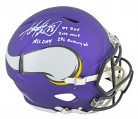 Adrian Peterson Signed Vikings Matte Purple Full-Size Authentic On-Field Speed Helmet with (4) Inscriptions (Beckett COA) at PristineAuction.com