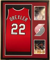Clyde Drexler Signed 34x42 Custom Framed Jersey (Beckett COA) at PristineAuction.com