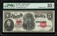 Error Note - PCBLIC Error - 1907 $5 Five-Dollar Red Seal U.S. Legal Tender Large-Size Bank Note (PMG 35) (EPQ) at PristineAuction.com