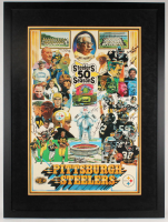 Steelers 50 Seasons 34x46 Custom Framed Print Display Signed by (20) with Terry Bradshaw, Franco Harris, Lynn Swann, Jack Lambert, Jack Ham (JSA LOA) at PristineAuction.com