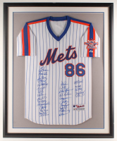 1986 Mets 34.5x42.5 Custom Framed Jersey Display Signed by (30) with Daryl Strawberry, Lenny Dykstra, Gary Carter, Ron Darling (Steiner COA & MLB Hologram) at PristineAuction.com