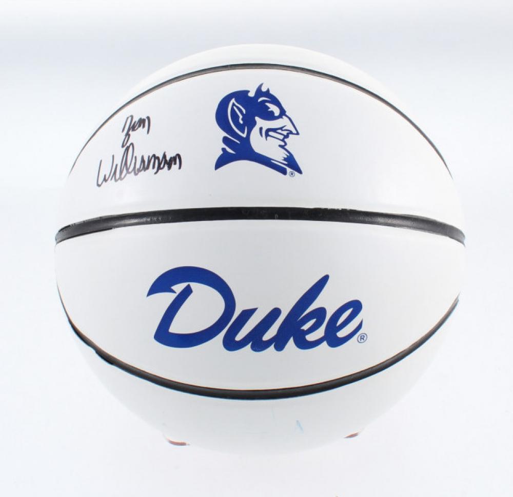 Zion Williamson Signed Duke Blue Devils Logo Basketball ...