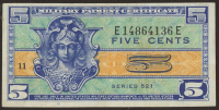 5¢ Five Cents Series 521 Military Payment Certificate Note (MPC) at PristineAuction.com