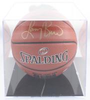 Larry Bird Signed NBA Basketball with Logo Display Case (Bird Hologram & PSA COA) at PristineAuction.com